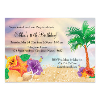 Flower Starfish Luau Birthday Party Invite