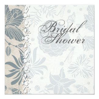 Flower Stencil Bridal Shower Invitation