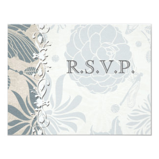 Flower Stencil  Wedding RSVP Card