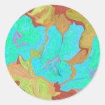 Flower sticker is abstract art in aqua & gold