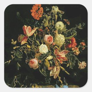 Flower Still Life, 1706 Square Sticker