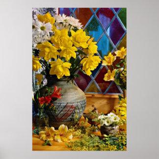 Flower, still life by window  flowers poster