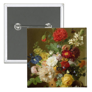 Flower Still Life on a marble ledge, 1800-01 2 Inch Square Button