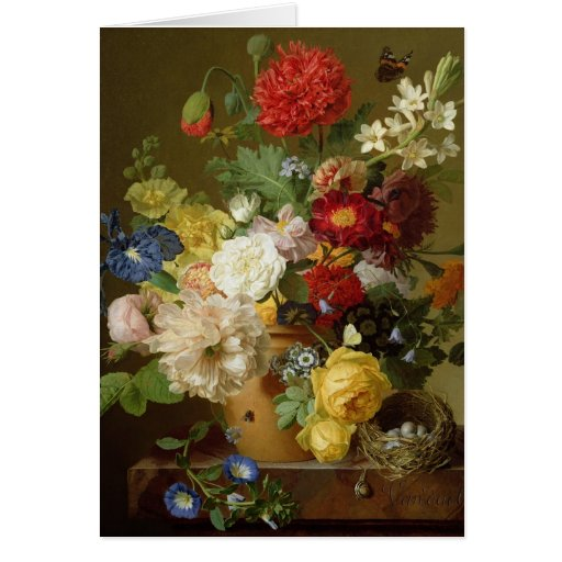 Flower Still Life on a marble ledge, 1800-01 Greeting Card