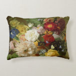 Flower Still Life on a marble ledge, 1800-01 Accent Pillow