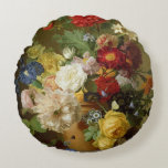 Flower Still Life on a marble ledge, 1800-01 Round Pillow
