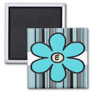 Flower Stripe Initial Magnet