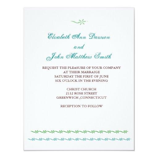 "flower stripe wedding invitation 4.25"" x 5.5"" invitation card"
