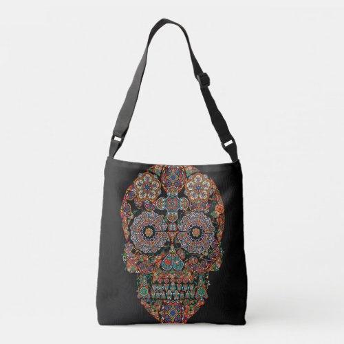 Flower Sugar Skull All-Over-Print Cross Body Bag