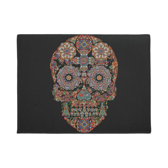 Flower Sugar Skull Doormat Zazzle Com