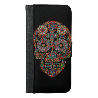 Flower Sugar Skull iPhone 6 Plus Wallet Case