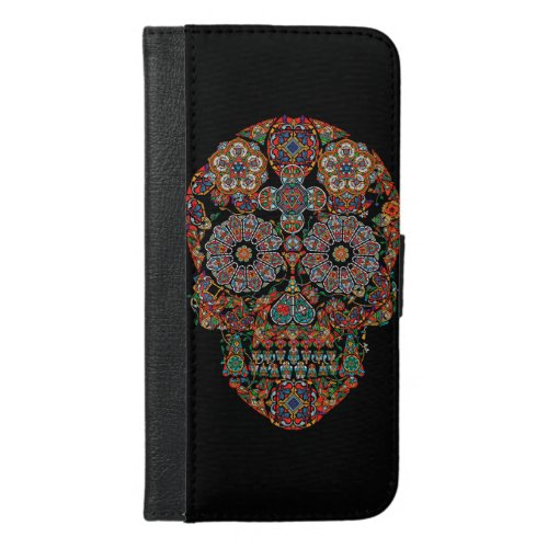 Flower Sugar Skull iPhone 6 Plus Wallet Case Phone Case