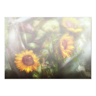 "Flower - Sunflower - Gardeners toolbox 5"" X 7"" Invitation Card"