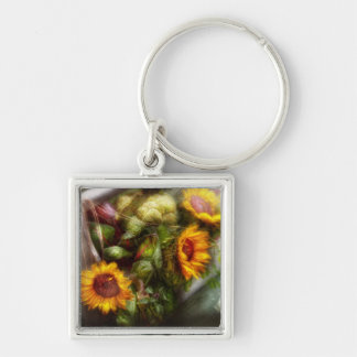 Flower - Sunflower - Gardeners toolbox Silver-Colored Square Keychain