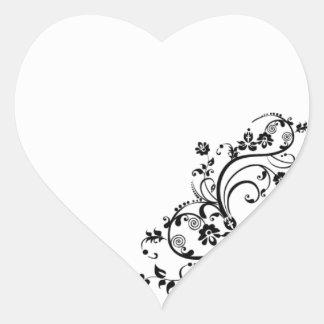 Flower Swirl Heart Sticker