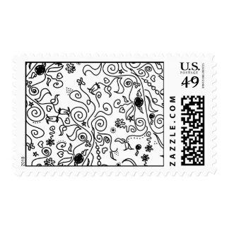 flower swirlies black spine postage stamp
