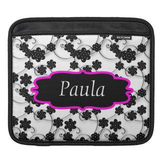 Flower Swirls Black & White Monogram iPad Sleeve