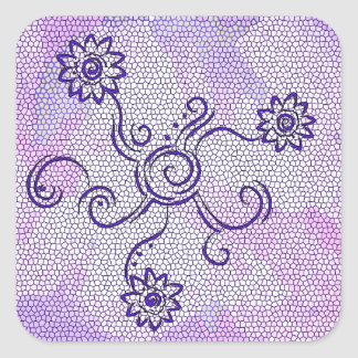 Flower swirls purple square sticker