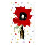 Flower swirls ribbon lines red pink business card