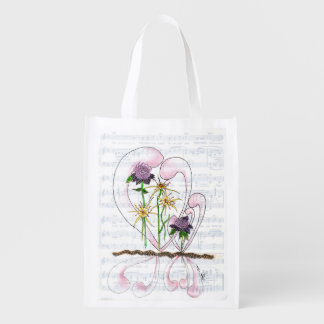 Flower Symphony Collage Reusable Bag