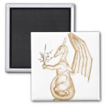 Flower the Gold Dragon Refrigerator Magnet