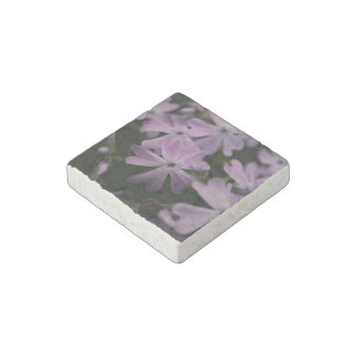 Flower Themed, Pretty, Violet Flowers Sporting Hea Stone Magnet