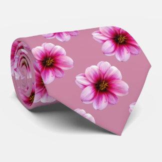 Flower Tiled Pink Dahlia Photo Tie