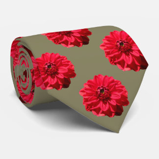 Flower Tiled Red Dahlia Photo Neck Tie