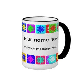 Flower Tiles Ringer Mug