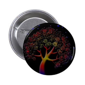 Flower Tree and Stars at Night 2 Inch Round Button