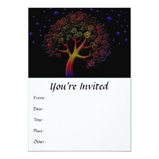 Flower Tree and Stars at Night Card