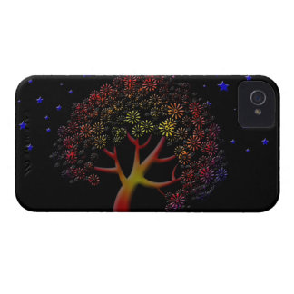 Flower Tree and Stars at Night iPhone 4 Case-Mate Cases