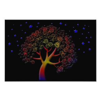 Flower Tree and Stars at Night Photo Print