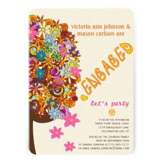 Flower Tree Engagement Invitations