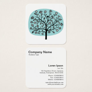 Flower Tree - Light Blue Green Square Business Card