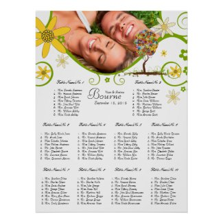 Flower Tree Seating Chart 10 Tables print