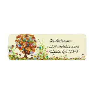 Flower Tree Swirl  Return Address Label