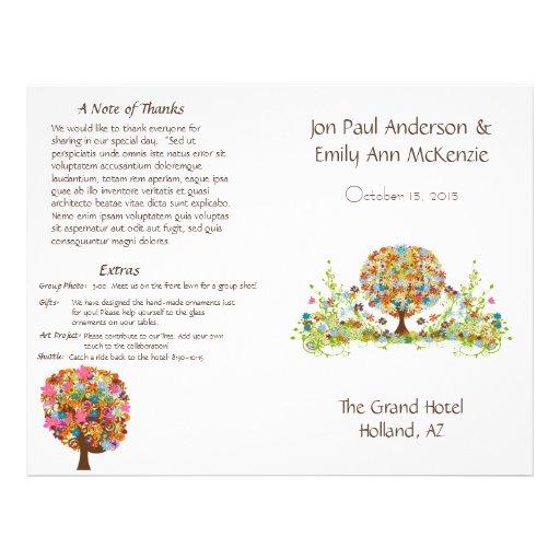 Flower Tree Wedding Program Flyer Design