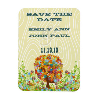 Flower Tree Wood Grain Save the Date Vinyl Magnets
