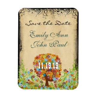 Flower Tree Wood Grain Save the Date Flexible Magnets