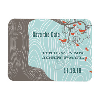Flower Tree Wood Grain Save the Date Magnets