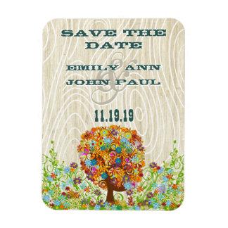 Flower Tree Wood Grain Save the Date Vinyl Magnet