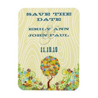 Flower Tree Wood Grain Save the Date Rectangular Magnet