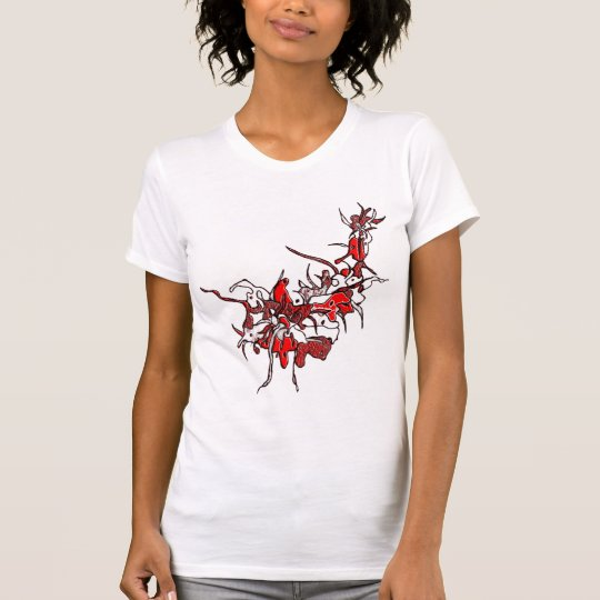 Flower Tribal Tattoo red and white T-Shirt