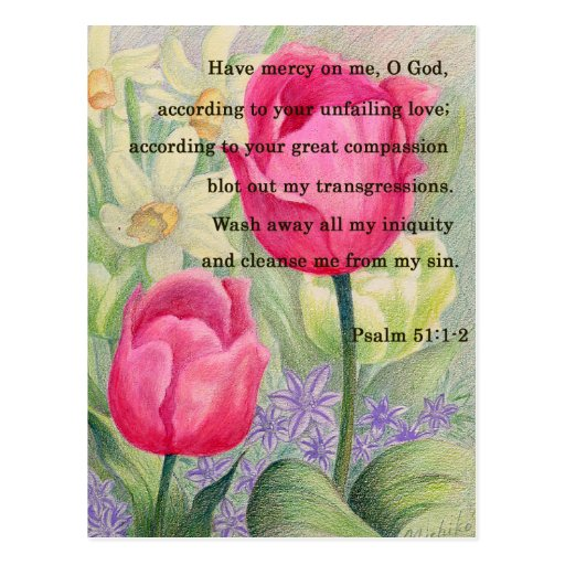 Flower tulip and scripture post card