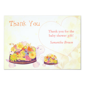 Flower Turtles Baby Shower Thank You Card