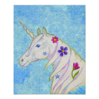 Flower Unicorn on Blue art print
