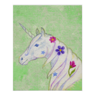 Flower Unicorn on Green art print