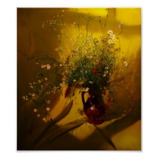 Flower vase in the sun posters