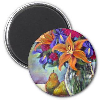 Flower Vase Pears Painting Art - Multi 2 Inch Round Magnet